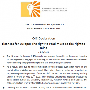 C4C 4 July Declaration – Licences for Europe: The Right to Read Must be the Right to Mine