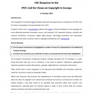 C4C's Comments on the UK IPO's Call for Views on Copyright in Europe