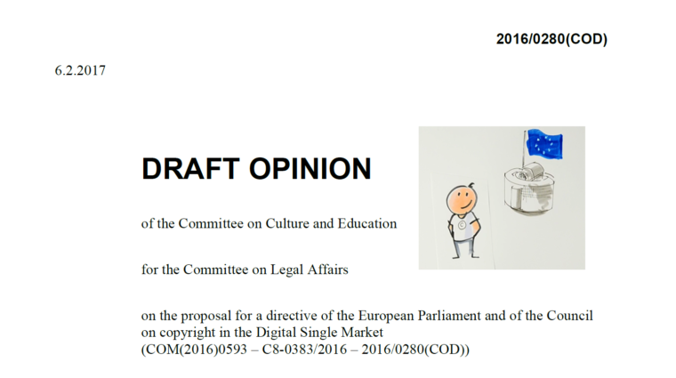 CULT Opinion on the Copyright in the Digital Single Market Directive: bad on filtering, press publishers' rights and TDM, but putting users back in the picture!